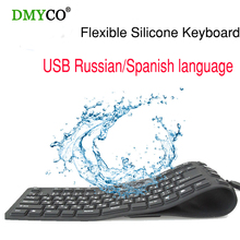 Russian 109 Keys USB wired Portable Silicone soft keyboards Rubber Waterproof Flexible Foldable the table gaming Keyboard For PC