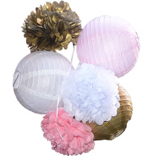 6pcs Set (Gold,Pink,White) Tissue Paper Paper Lantern Wedding Decoration  Flowers Balls Kid Birthday Party Home Decoration