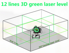 3D 12 lines green Laser Level with Tilt Slash Function and 360 Rotary Self Leveling Outdoor Laser Beam Cross Line Level