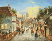 Top Quality 14CT Counted Unprinted Cross Stitch Kits Set Needlework Embroidery Art Lively Market Landscape Home Decor Handmade