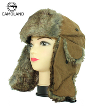 2016 Hot Sale Bomber Hats Ushanka Russian Hat Fur Winter Hats sports snow outdoor aviator ear flaps cap for men&women Hats(China)