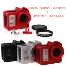 Accessories Alloy cage Protective Housing Case Cover Metal frame + UV filter for SJCAM SJ4000 WIFI/SJ5000/7000 soocoo c30 C10 H9(China)
