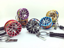 2017 Car Tuning Wheel Rim Keychain Key Chain Auto Turbo JDM Keyring with disc brake HellaFlush Rear Mirror Pendent Aluminum(China)