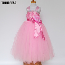 New Flower Girl Dresses Pink Tutu Dress Kids Princess Costume Girls Birthday Wedding Party Tulle Dresses Children Clothing 2-12Y