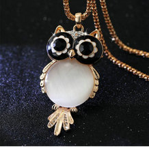 2017 New Brand Fashion Charms Crystal Owl Necklace Gem Cubic Zircon Gold Color Long Chain Necklaces&Pendants Women Jewelry