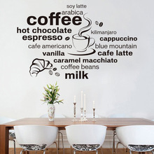 2017 New Design Simple And Stylish English Coffee Pattern Home Decoration Wall Stickers Living Room Cafe Wall Decals Wallpaper