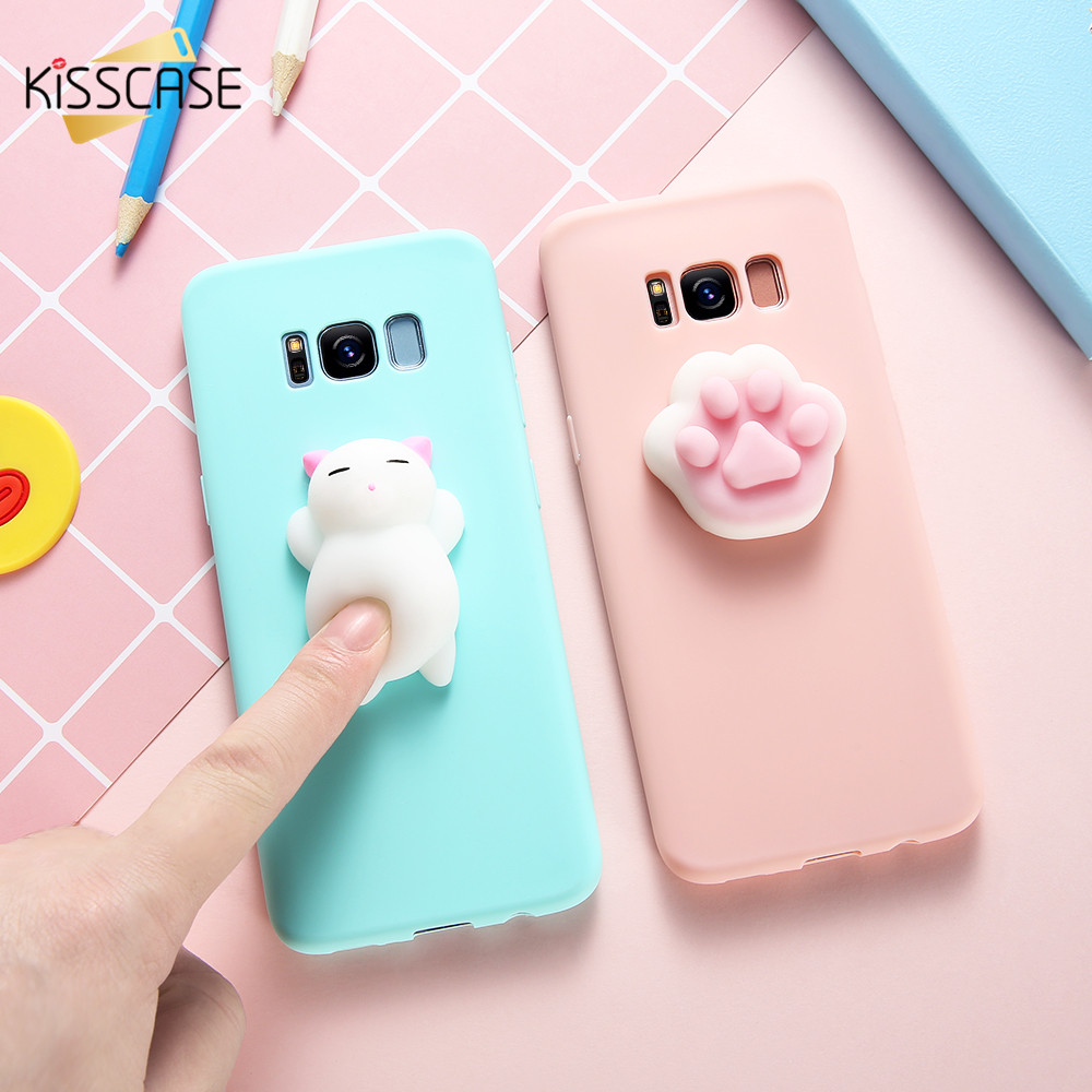 KISSCASE Cute Squishy Cat Case Samsung S7 S6 Edge S8 plus Case Lovely Animal Phone Cover Samsung Note 8 J5 J7 2017 Coque