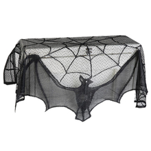 93*57cm Black Lace Spiderweb Bat Fireplace Mantle Scarf Cover Curtains Shades Party Supplies Party Hanging Halloween Decoration(China)
