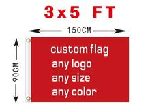 Custom flag 150X90 cm (3x5FT) 100D polyester we design any logo any color decoration home client flag banner(China)