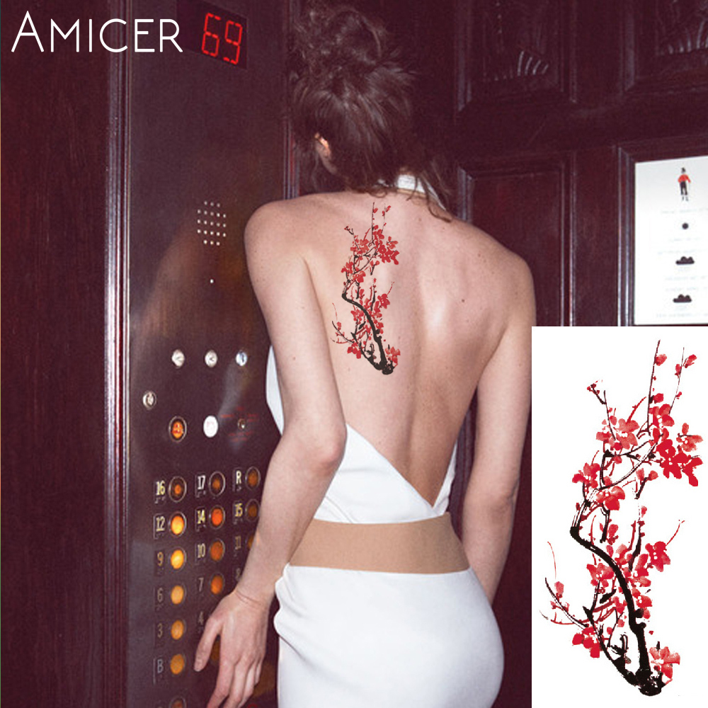 3D lifelike Cherry blossoms rose big flowers Waterproof Temporary tattoos women flash tattoo arm shoulder tattoo stickers 23