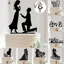 Mr Mrs Wedding Decoration Cake Topper Acrylic Black Romantic Bride Groom Cake Accessories For Wedding Party Favors(China)