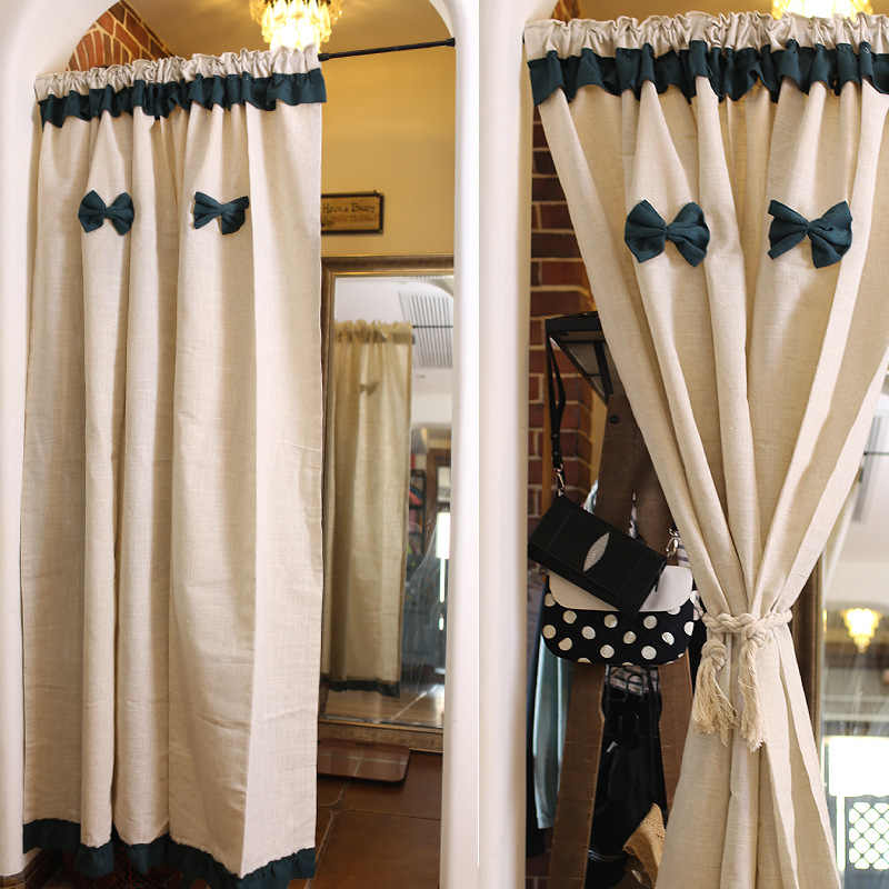 Nordic Simplicity Half-curtain Blackish Green Bowknot Tube Curtains Beige Cotton Linen Short Curtain for Kitchen Cabinet Door