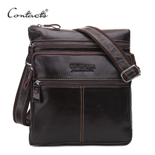 CONTACT'S Fashion Genuine Leather Brand Design Men Messenger Bag Cowhide High Quality Shoulder Bags Travel Men's Cross Body Bag(China)