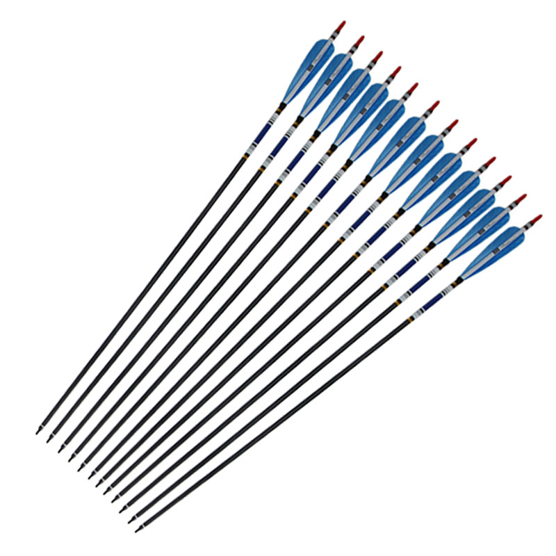 12Pcs 31 Carbon Arrow with Turkey Feather for Recurve Bows Archery Hunting 350 Spine<br>