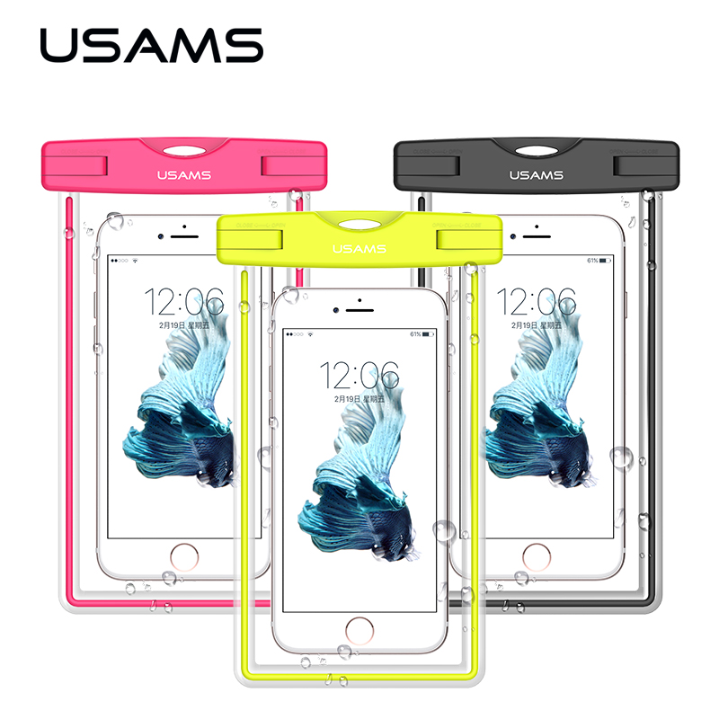 USAMS waterproof phone bag case transparent pouch beach dry universal mobile phone bag for Samsung s8 s7 for iphone 7 7 plus(China (Mainland))