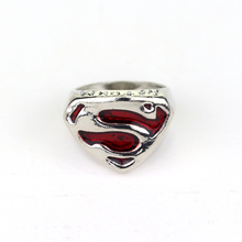 2017 Cospaly Parties Superhero Superman Ring S Enamel cocktail Suitable for men and women Christmas gift Red Rings size 7-11