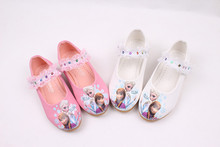 2016 Girls Elsa Anna Sandals Princess Elsa Shoes Printed PU Leather Shoe Girls Party Shoes Two colors Pink and White color