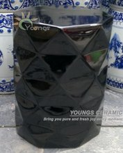 Chinese Black Glazed Diamond Ceramic Porcelain Garden Stool