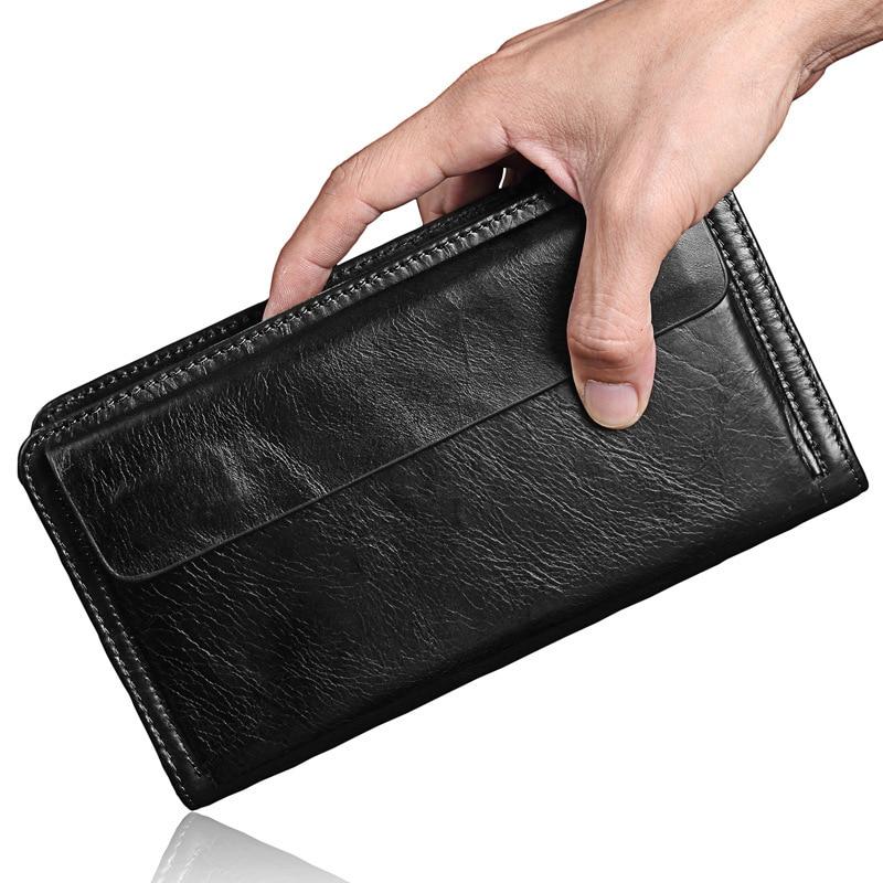 Double Zippers Large-capacity Men Handbag Genuine Leather Man Long Wallet Male Big Purse Hand Take Notecase PR589036-1<br>