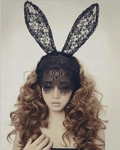 Wholesale and Retail fashion Party lace long bunny ears fabric hairband hair accessory black and white 6pcs/lot