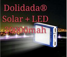Dolidada Auceen Real 20000mAh Solar Power Bank +LED Camping Light Backup Battery Charger Portable Rechargeable for Mobile Phones