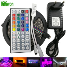 RiRiwon SMD RGB LED Strip Light 5050 4M 8M 10m 5m 30Leds/m led Tape Waterproof diode ribbon 44K Controller DC 12V adapter set