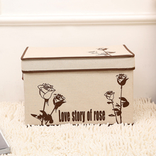 new retro linen folding storage box clothes organizer kid toys storage bin Household finishing box size 25*20*17cm