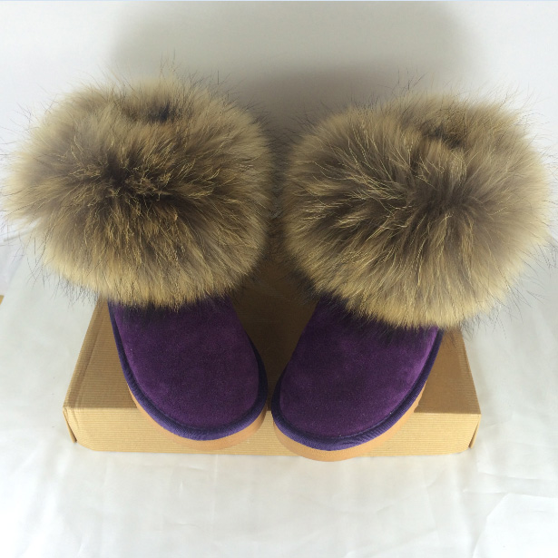 Natural Big Fox Fur Womens Winter Snow Boots Top Quality Cotton Ankle Boots Winter Cow Round Toe 100% Genuine Leather Boots<br><br>Aliexpress