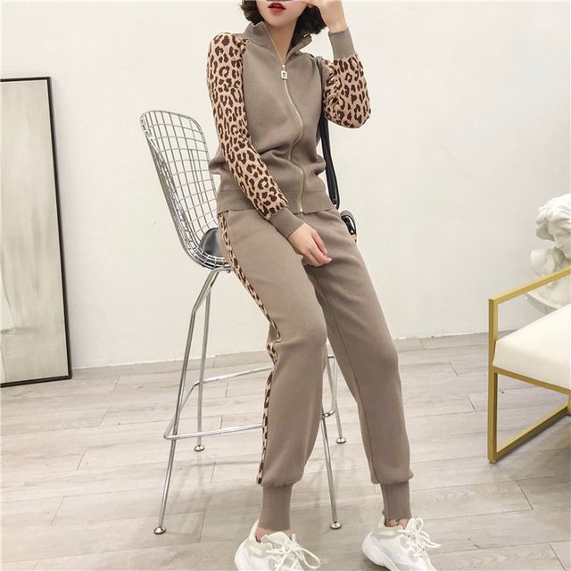 Oshangchaopin Women Knitted Leopard Full Sleeve Casual Sweaters Pant 2PCS Sets Zipper Jacket Coats+Long Trouser Suits For Female