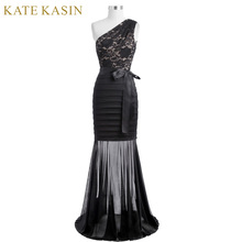 Kate Kasin Women Long Evening Dress 2017 One Shoulder Black Mermaid Evening Gowns Silhouette Lace Appliques Party Prom Dresses(China)