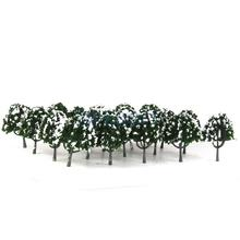 Plastic Peach Trees Model Train Railroad Snow Scenery 1:100 20pcs