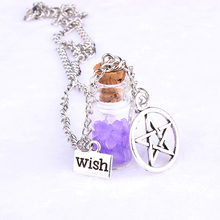 New Trendy Wishing Glass Bottle Dreams Pendant Star Color Silver plated Necklace For Women