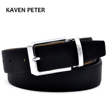 Men's Genuine Leather Belt Waist Metal Buckle Belts With Toothpick Pattern White Dress Belt And Black Belt Buckle Silver(China)