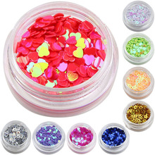 12 Color Mix Gel Glitter Dust Powder Heart Star Shape Nail Glitters Finger Nail Cell Phone DIY Material Supplies WY215(China)