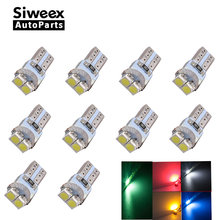 10pcs T5 LED Dashboard Instrument Indicator Light Speed Wedge 3528 LED 2SMD PC74 12V Car Lamp Bulb White Red Green Blue Yellow(China)