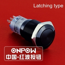 ONPOW 16mm Metal Flat actuator Latching on-off Aluminium alloy black anodized Push Button Switch (LAS2GQF-Z/A) CE,RoHS(China)