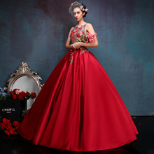 Newest Sexy Red Flower Embroidery Appliques Stage Show Costume Glamorous High Quality Evening Party Ball Gown(China)