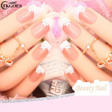 TKGOES 24pcs nails tips french pre design 3d False Nails Tips Fake Nail French Nail Art Tips With Free Glue JQ1224