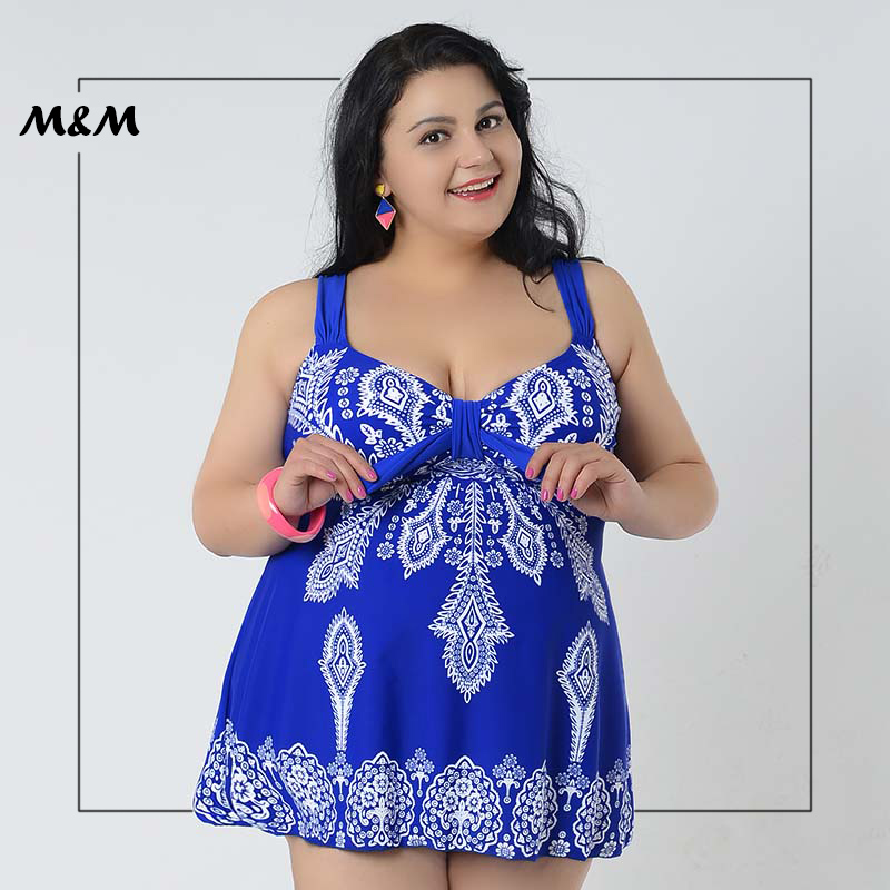M&amp;M Sexy Gather Plus Size One-Piece Swimsuit Women Chest Knot Print Skirt Big Size Beach Bathing Dress Large Size Swimming Wear<br>