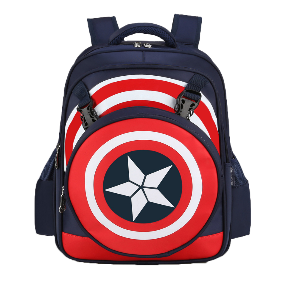 KEYTREND New Fashion Anime Backpacks Avengers Captain America School Bags PU Boy Children Kids Primary School Student Bag KSB253<br>