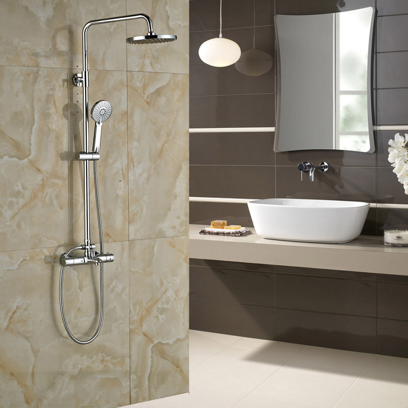 Bathroom Chrome Thermostatic Shower with Bath Spout Wall Mounted with Handshower 8 Rain Showerhead<br><br>Aliexpress