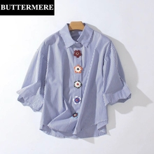 Buy Buttermere Brand Women Blue White Striped Shirt 2017 Summer Fashion Elegant Loose Tops Half Petal Sleeve Blouse Blusas Mujer for $18.99 in AliExpress store