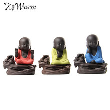Cute Little Monk Smoke Backflow Tower Incense Burner Holder Ceramic Aroma Lamps Home Decor Tower Incense Holder Gift Ornaments