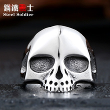mix color Men's 2015 Fashion Punk Small silver Black gold Alien Skull Rings 316L Stanless Steel Fashion Jewelry(China)