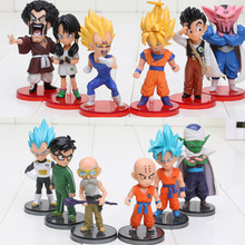 6pcs/lot Dragon Ball DBZ Anime Goku Vegeta Piccolo Gohan super saiyan Joint Movable dragon ball z action figures Toy