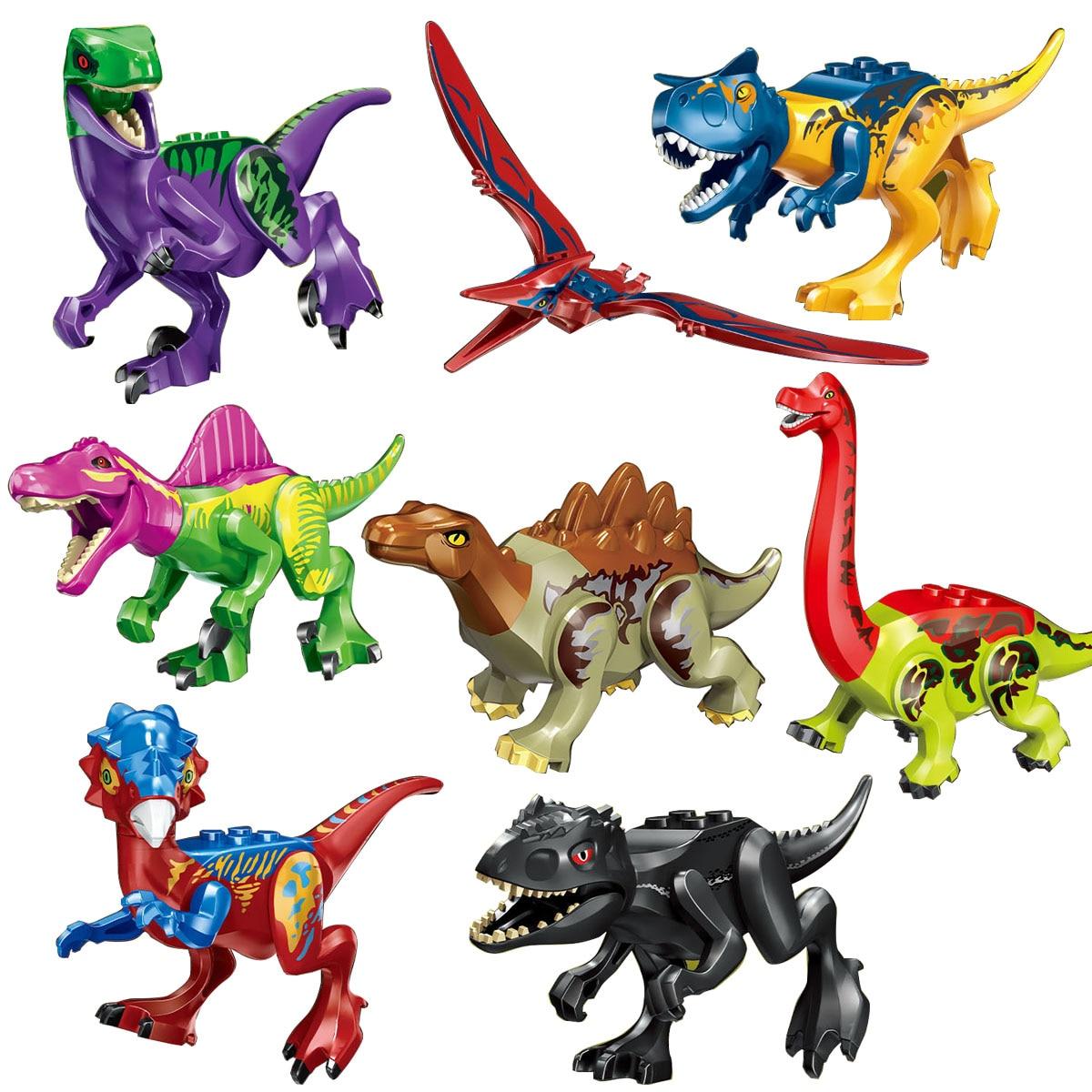 Mailackers Jurassic Dinosaurs Movies Rex Dilophosaurus Velociraptor Tyrannosaurus Figures Building Blocks Models Toys Kits 77070