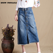 SNOW PINNACLE 2017 Denim Skirt Summer Women Long Jean Skirt A-line Casual High Waisted Single Breasted buttoned front