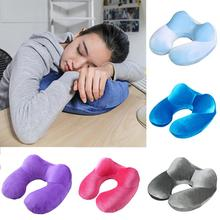 1PC  Portable Inflatable Neck Pillow U Shape Neck Blow Up Cushion PVC Flocking Pillow Support Flight Travel Accessory