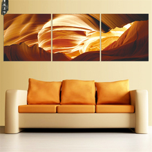 Modern Abstract Canvas Painting Modular Canvas Art Yellow Oil Picture Home Decor Wall Painting for Living Room 3 Pieces(China)