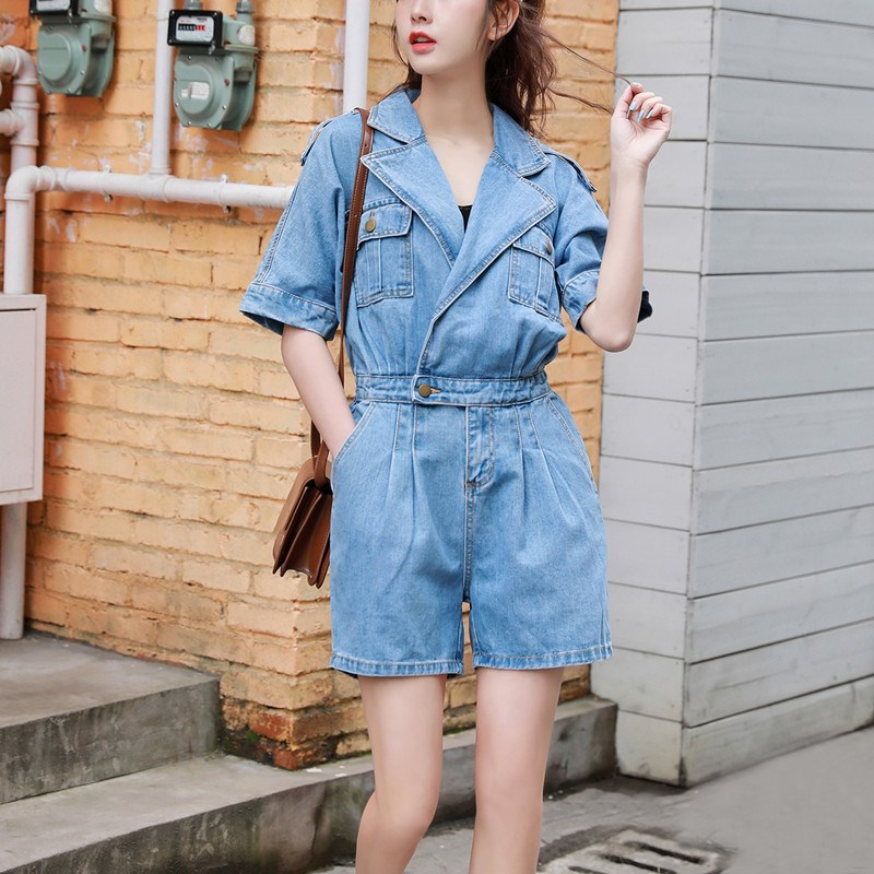Fashion Streetwear Denim Jumpsuit Women Elastic High Waist Rompers Shorts Jeans Casual Summer Overalls Wide Leg Playsuits